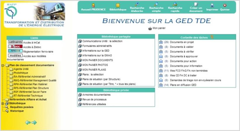 GED transverse RATP TDE : page d'accueil