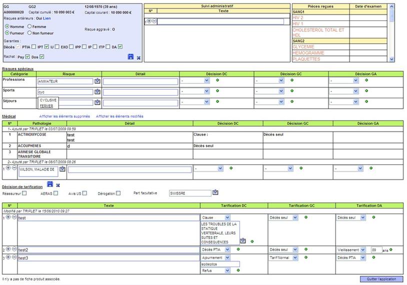 Solutions pour les assurances : analyse médicale et financière
