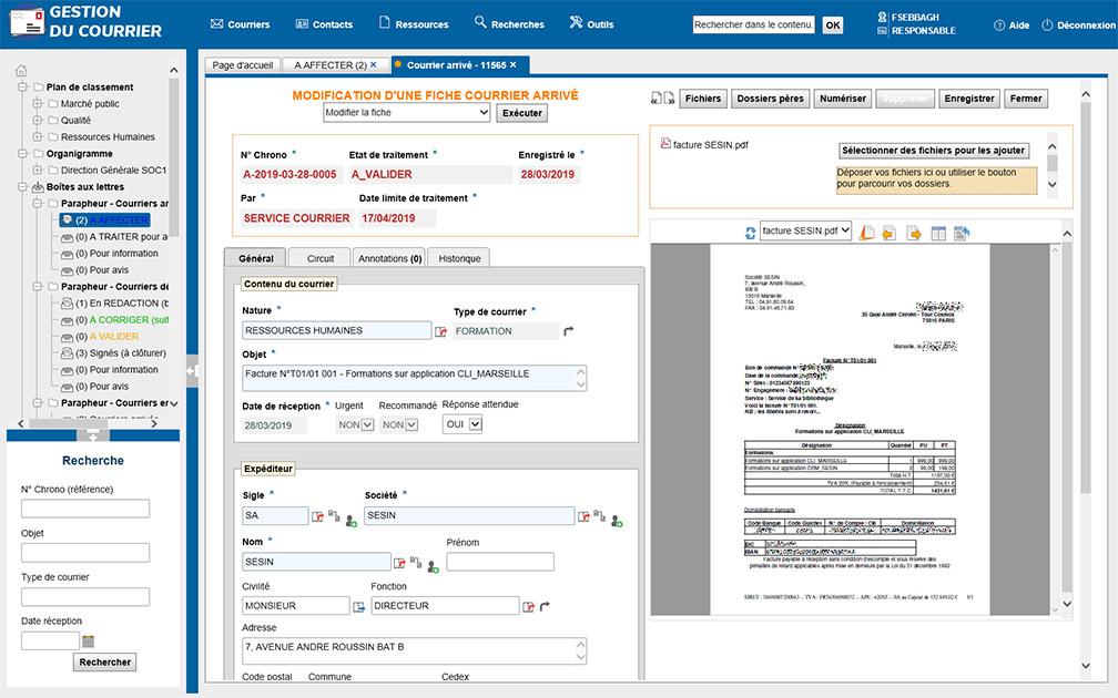 Capture d'écran du logiciel de gestion de courrier Postman de Sesin